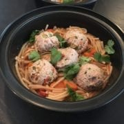 Turkey Meatballs over Fideo, Carrots, & Peppers